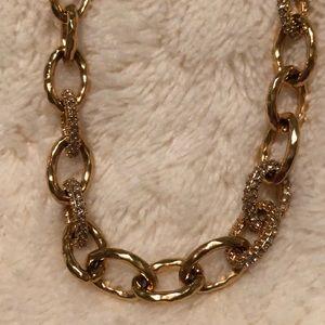 Stella & Dot Gold-tone & Rhinestone Link Necklace